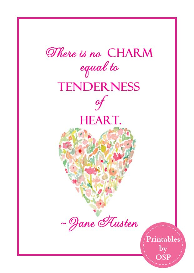 Free Printables featuring a beloved Jane Austen quote available in 2 colors. Ready to print and frame!