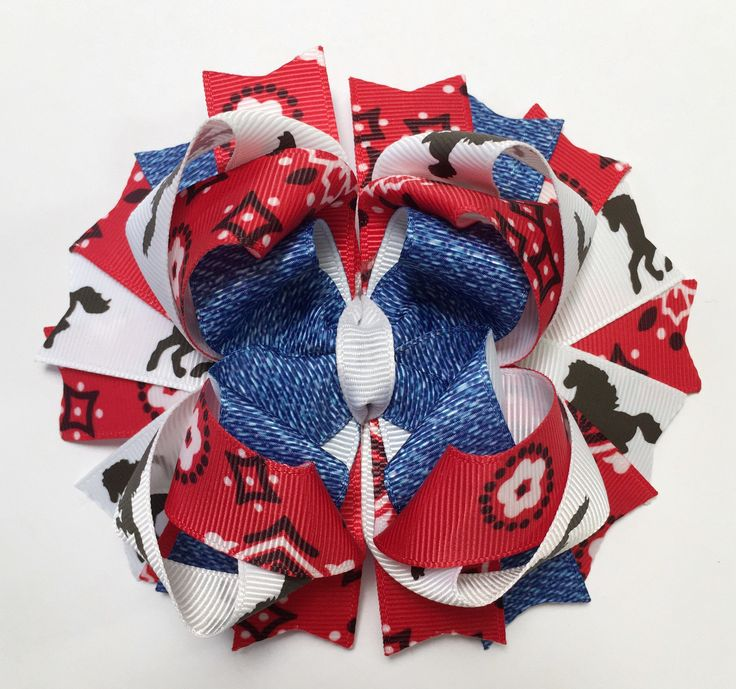 A personal favorite from my Etsy shop https://www.etsy.com/listing/227155985/rodeo-hair-bow-bandanna-horses-country
