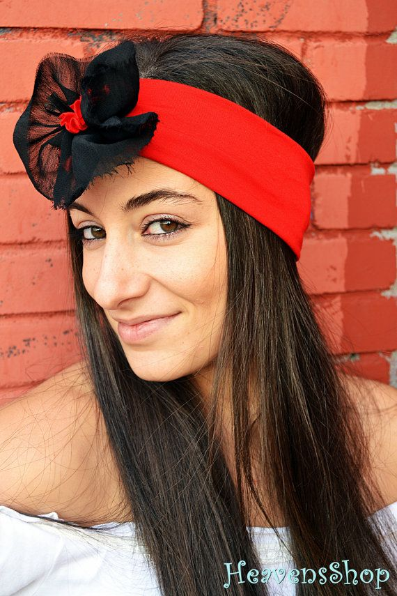 Hot Red Headband With Flower Applique Turban by HeavensShop, €14.50