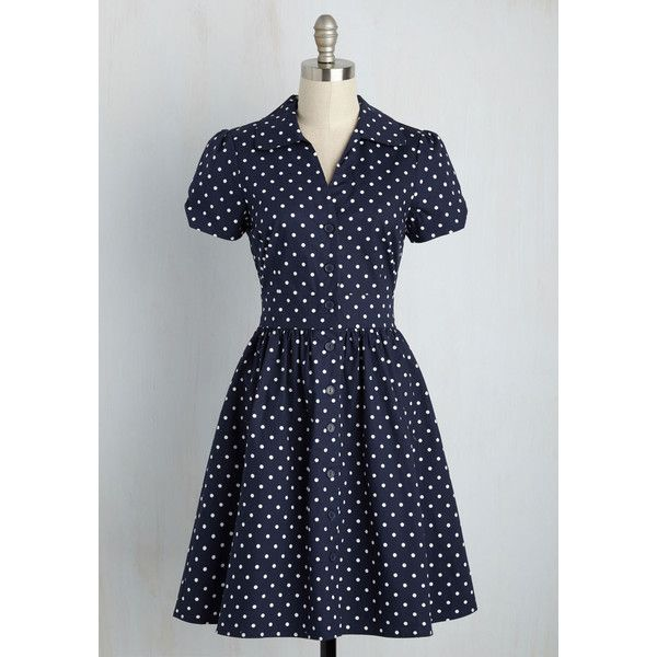 Nautical Mid-length Short Sleeves A-line Summer School Cool Dress ($60) ❤ liked on Polyvore featuring dresses, apparel, blue, fashion dress, blue dress, short sleeve summer dresses, shirt dress, nautical dresses and polka dot dress
