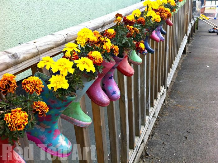 How to Make Welly Plant Pots - these are a super fun way to get gardening with kids and recycle!