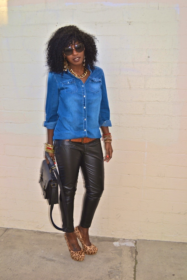Today's 'fit: Denim + Leather +Leopard Print
