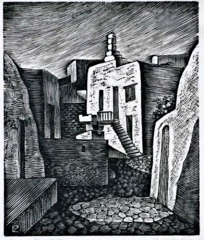 Zέπος Εμμανουήλ(1905-95).Μύκονος. Ξυλογραφία.