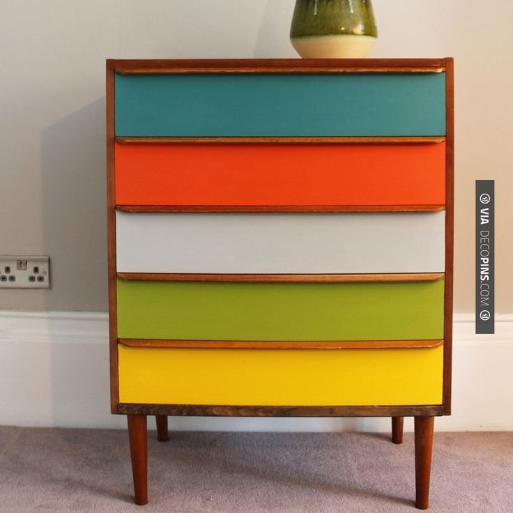 Love this - Add a splash of colour to your home with this stylish chest of drawers. Painted in vibrant and fresh mid-century colours from Kevin McCloud's Fired Earth range.    This versatile storage is perfect for any room in the house. Each of the five drawers has been individually hand painted and waxed to give it a low sheen finish. | CHECK OUT MORE DRESSER IDEAS AT DECOPINS.COM | #dressers #dresser #dressers #diydresser #hutch #storage #homedecor #homedecoration #decor #l