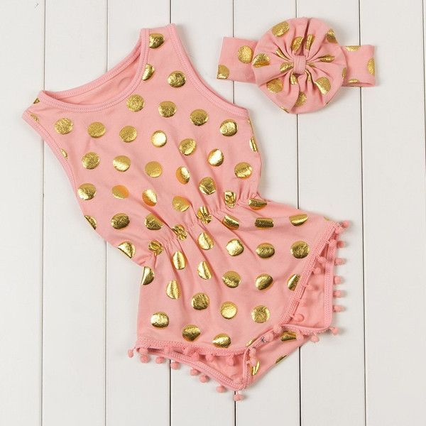 Adorable romper with gold dots and matching headband! Cotton polyester material Pom poms around legs Snap closer at bottom Sleveless tank style top Matching he