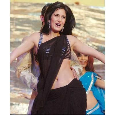 katrina kaif hot in black saree navel