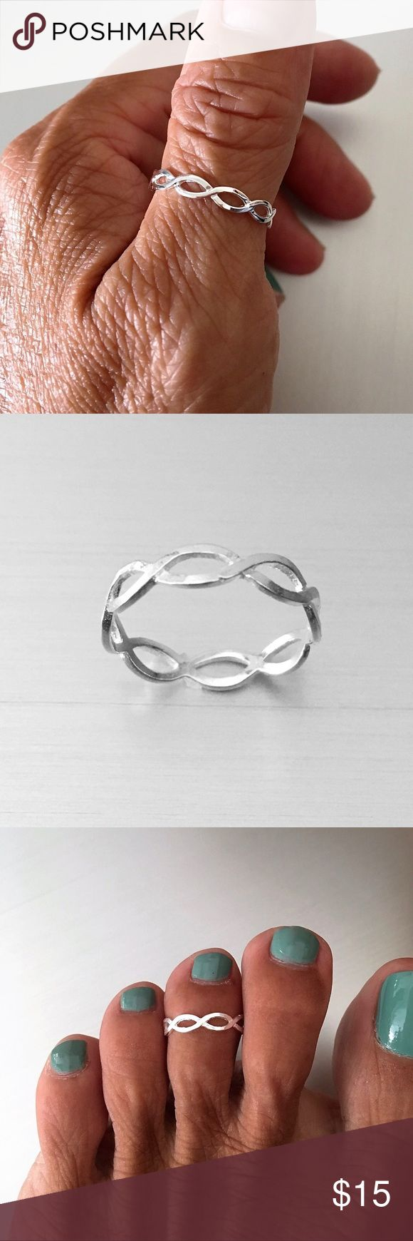 Sterling Silver One Thin Braid Ring Sterling Silver One Thin Braid Ring, Toe Ring, Midi Ring, Pinky Ring, Index Ring, Thumb Ring, Stackable Ring, 925 Sterling Silver, Face Height 3 mm (0.13 inch), PLEASE VISIT MY SITE indigoandjade.com Jewelry Rings