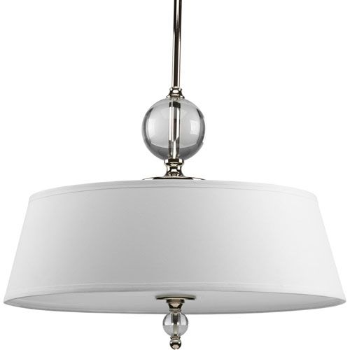 Fortune Polished Nickel Three Light Pendant With White Linen Glass Fabric Shade Progress D