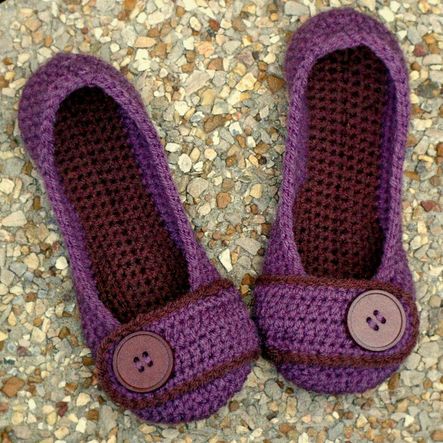 Some purple yarn slippers to lounge in with style.