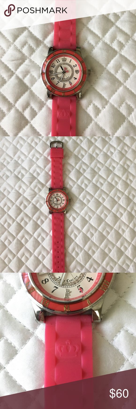 Juicy Couture watch with Swarovski crystals Rubber band. A few scratches on the back of the face. No scratching on the favs of the watch. Needs batteries. Perfect for athleisure looks. Juicy Couture Accessories Watches