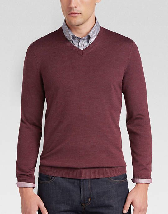 dbdc0d90cd Wine-colored v-neck sweater over dress shirt