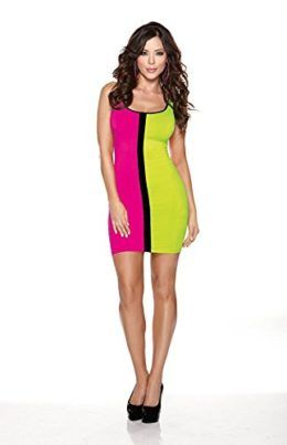 Halloween Wholesalers Womens Color Block 80s Dress-Light Green & Pink Tag someone you think would look good in this! #80's #1980's #Halloween #Costume