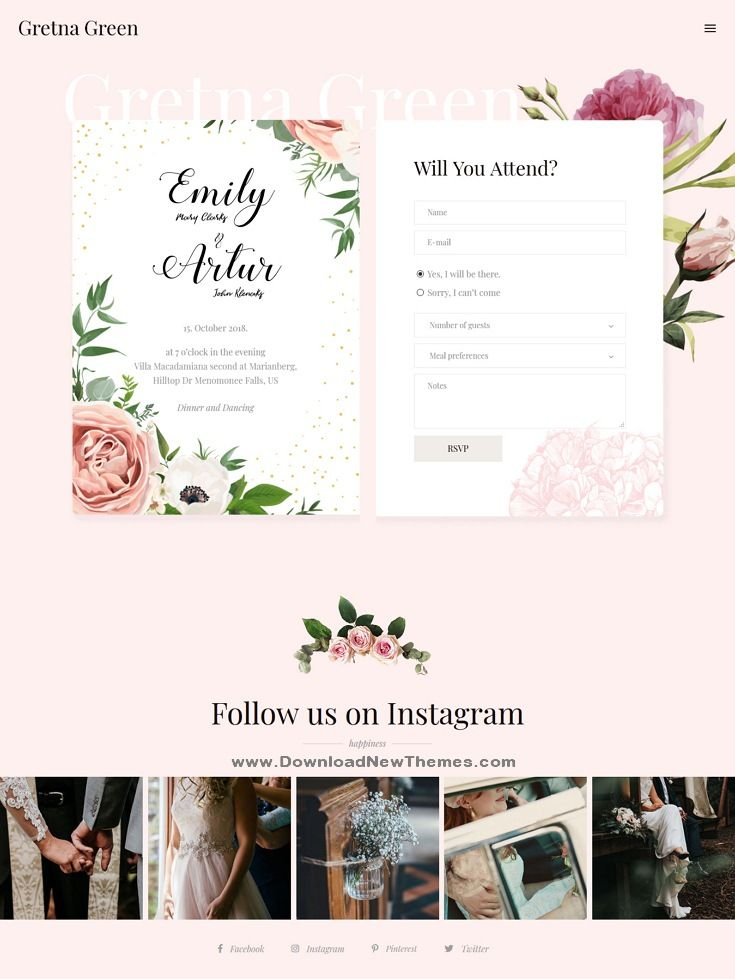 Gretna Green Is A Clean Stylish And Modern Design Responsive Wordpress Template For Weddings Weddinginvitations Eve Wedding Templates Gretna Gretna Green
