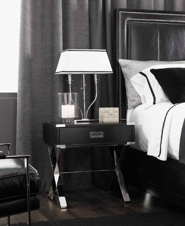 LUXE Designer Black X Chrome  Nightstand Courtesy of InStyle-Decor.com Beverly Hills Inspiring & Supporting Hollywood interior design professionals and fans, sharing beautiful Luxe Home Decor Inspirations, Designer Furniture, Table Lamps, Mirrors & Decorative Accents. Trending 1st in Hollywood, Your Welcome To: Repin, Share & Enjoy