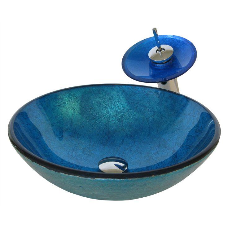 Novatto Verdazzurro Glass Vessel Bathroom Sink Set, Chrome (Blue Foil, Chrome Faucet, Drain)