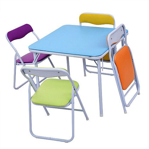 Kids Table 4 Chairs Set Children Folding In Outdoor Furniture