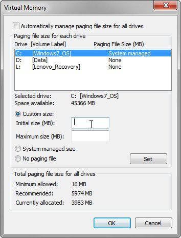 If Windows virtual memory is too low, you can increase it, but there are trade-offs