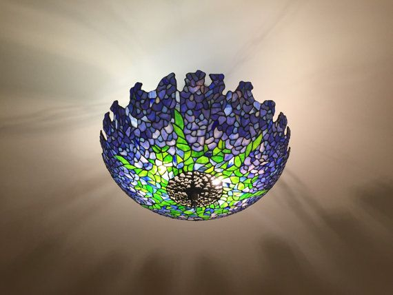 Tiffany Wisteria plafond ceiling lamp. Stained glass by WPworkshop  $1850