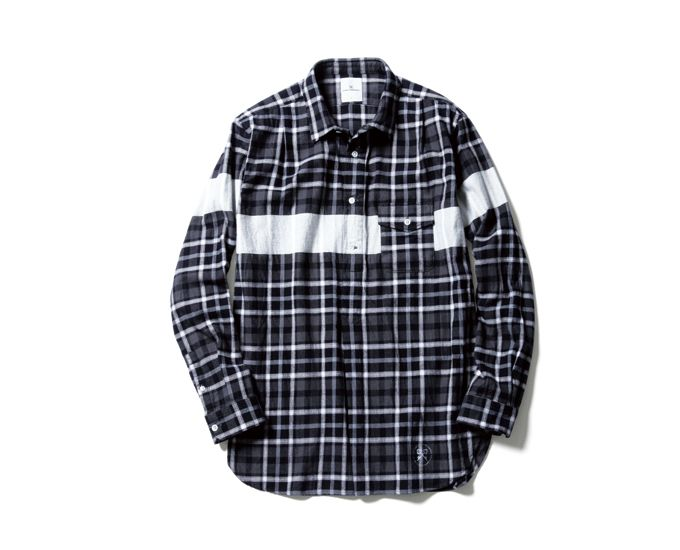 uniform experiment | PRODUCT | WHITE LINE FLANNEL CHECK REGULAR COLLAR PULL OVER LONG SHIRT