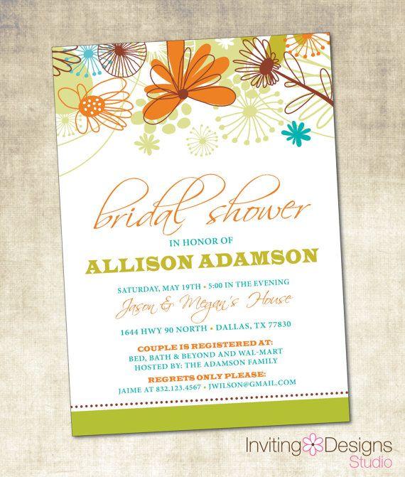 Bridal Shower Invitation (PRINTABLE FILE), Retro Bridal Shower, Modern Floral