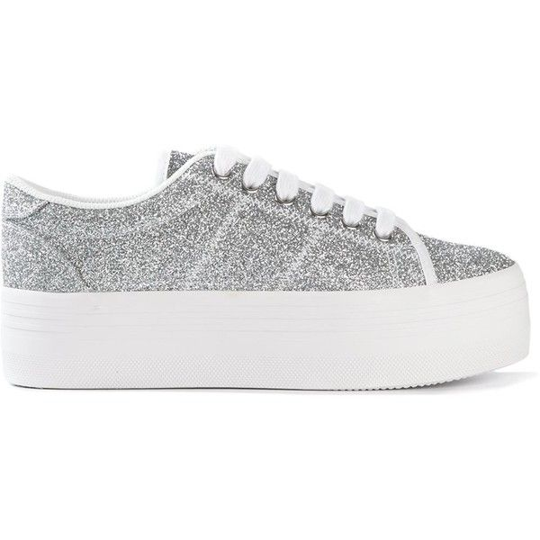 Jeffrey Campbell glitter platform sneakers (£86) ❤ liked on Polyvore featuring shoes, sneakers, metallic, white shoes, metallic shoes, jeffrey campbell sneakers, platform shoes and white platform sneakers