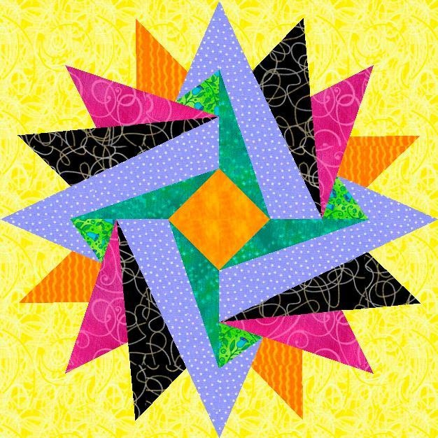 Free quilting pattern: Indian Summer Paper Pieced Block: Pieces Blocks, Quilts Patterns, Indian Summer, Paper Pieces, Quilts Blocks, Free Patterns, Blocks Free, Blocks Patterns, Summer Paper