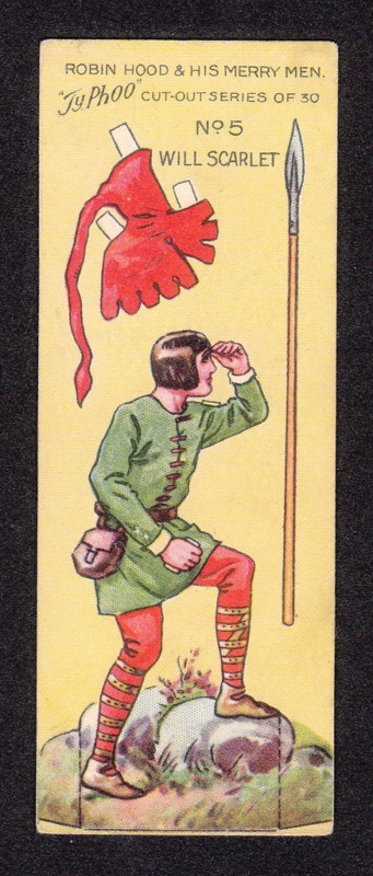 Robin Hood Scarce 1928 Typhoo Tea Paper Doll Card n°5 Will Scarlet #recortable #scissorwork #papertoy- Carefully selected by GORGONIA www.gorgonia.it