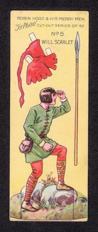 Robin Hood Scarce 1928 Typhoo Tea Paper Doll Card n°5 Will Scarlet #recortable #scissorwork #papertoy- Carefully selected by GORGONIA www.gorgonia.it