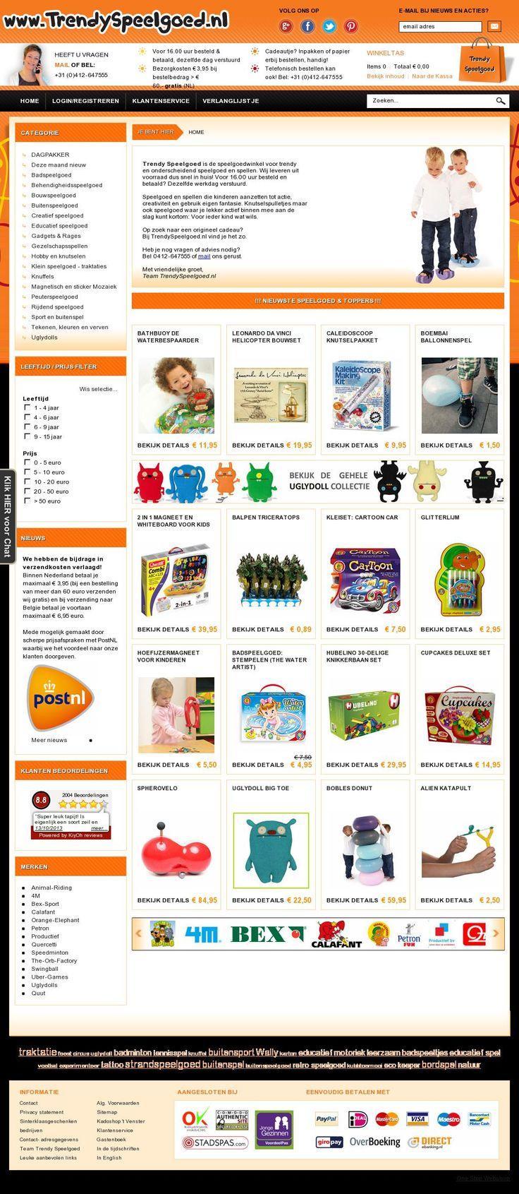 www.trendyspeelgoed.nl Trendy Speelgoed is de speelgoedwinkel voor trendy en onderscheidend speelgoed en spellen.  Speelgoed en spellen die kinderen aanzetten tot actie, creativiteit en gebruik van  eigen fantasie. Knutselspulletjes maar ook speelgoed waar je lekker actief binnen mee aan de slag kunt kortom: Voor ieder kind wat wils. #webshop