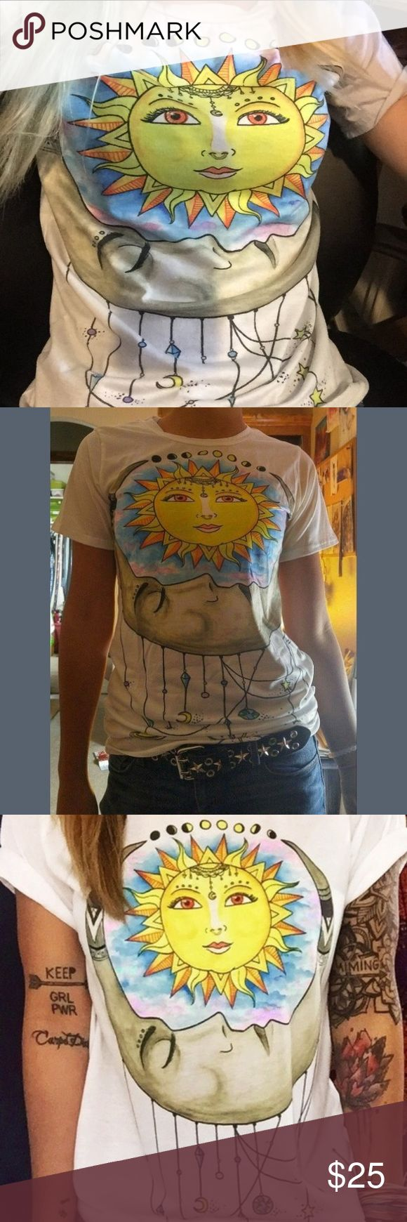 VERY COOL SUN/MOON SS TEE SHIRT. NIP This short sleeve tee is very, very cool. Nice fabric. Not thin. Hip design. Unique. Sizes run a little smaller than US sizes. Use chart when ordering. Brand new from manufacturer. I have sizes M, L, XL, and XXL Tops Tees - Short Sleeve