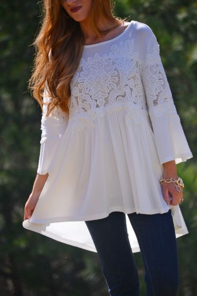 $36.00 Delia Lace Tunic his blouse is oh so pretty!! A  lace panel adds just the right touch of romance, and the flowing babydoll shape is flattering for all shapes.