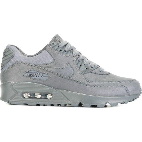 Nike Air Max 90 Pinnacle Sneakers ($162) ❤ liked on Polyvore featuring shoes, sneakers, grey, nike sneakers, gray sneakers, nike, grey shoes and lace up shoes
