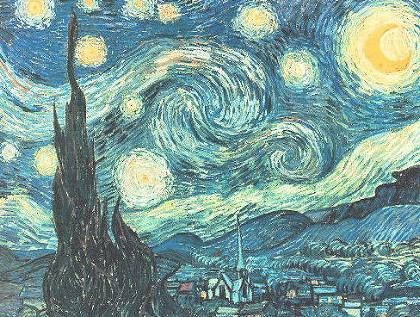Vincent Van Gogh  Dutch  (1853-1890)	Starry Night	Vincent Van Gogh is probably one of the two or three most famous painters in history, often remembered for cutting off part of his ear and suffering from mental illness. Famous for its swirls in the sky, this painting was based on the view from Van Gogh's bedroom and is an example of post-impressionism.