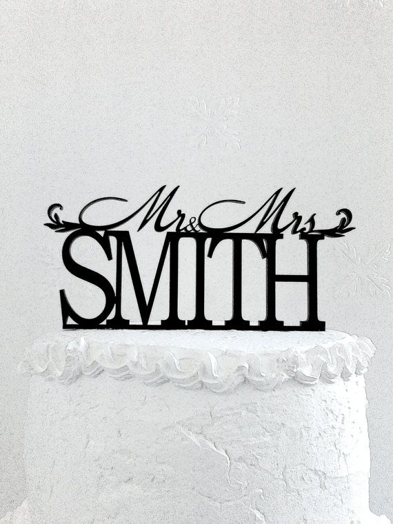 Mr and Mrs Smith Wedding Cake Topper Personalized with Last