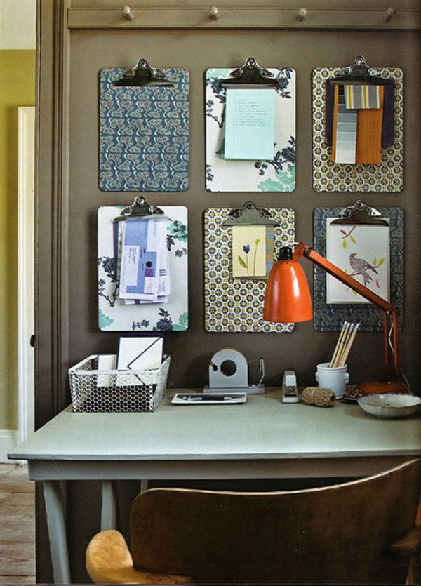 INSIDE - Love the idea of covering clipboards with wrapping or scrapbooking paper and having them on display.
