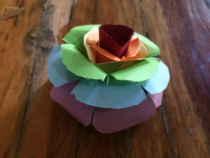 Rainbow paper rose