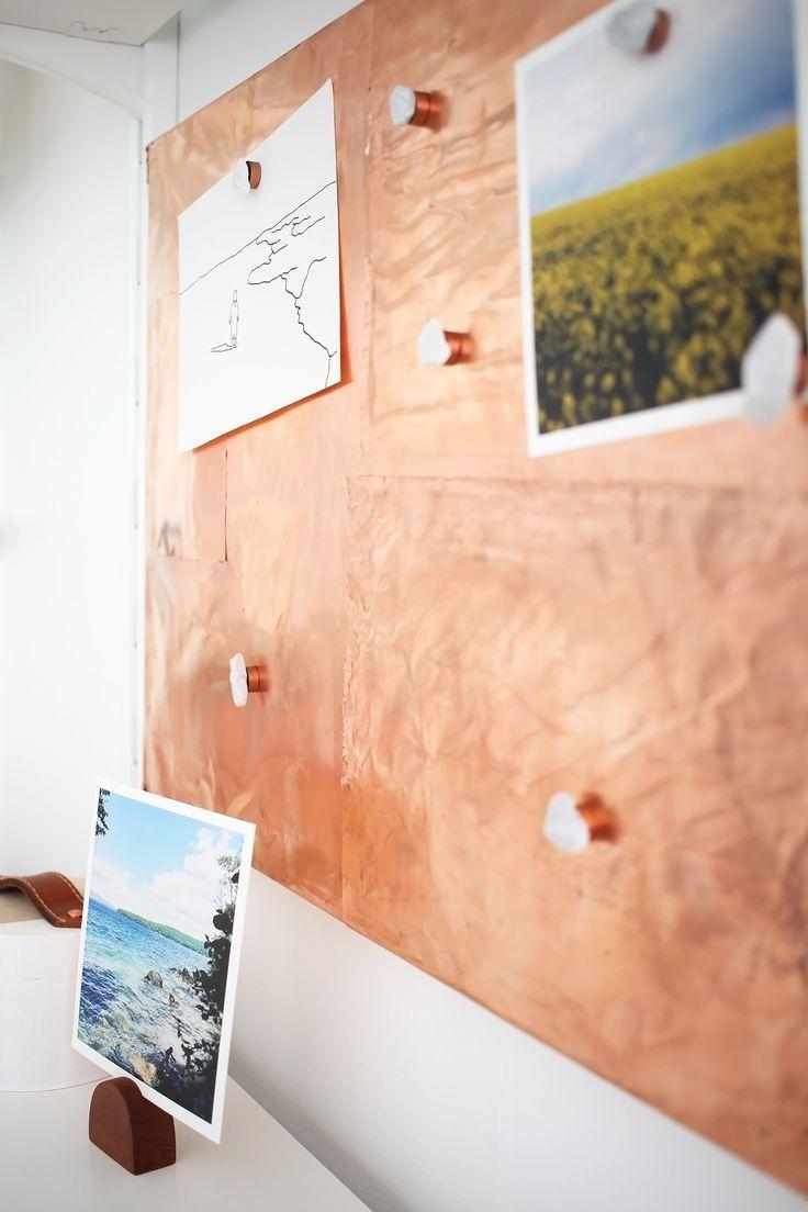 DIY Koperen memoboard of inspiratiebord. Makkelijk te maken met koperfolie! // via Idle Hands Awake