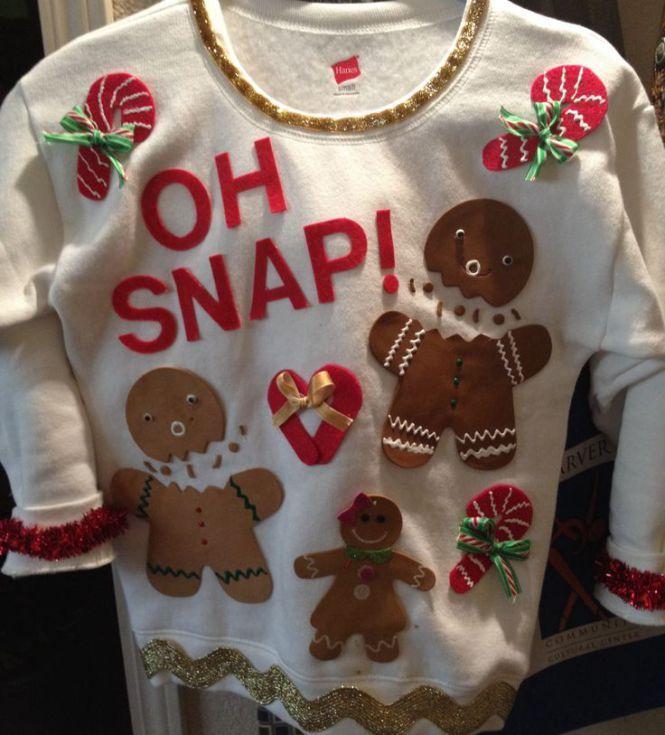 Ugly Christmas Sweater DIYs | gingerbread sweater