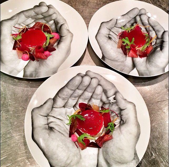 Another beautiful recipe from Chef Jean Imbert at L'Acajou in Paris. Foie gras and red beet in a plate imagined by JR! Encore une magnifique recette du Chef Jean Imbert à L'Acajou à Paris: foie gras et betterave dans une assiette imaginée par JR! #jeanimbert #JR