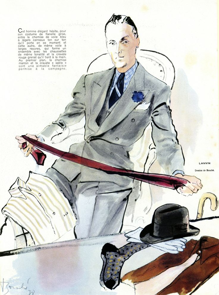 Costume de flanelle grise, chemise en voile de coton léger à carreaux ton sur ton et cravate assortie, Lanvin1938 © Patrimoine Lanvin. #Lanvin125