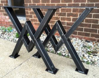 Design Dining Table Legs Three Bars With von MetalAndWoodDesign