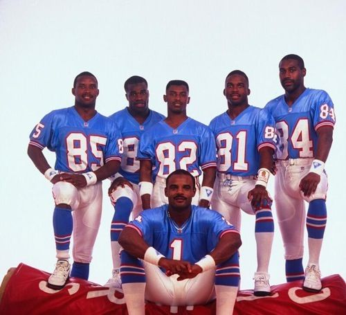 "Houston Oilers ""Run & Shoot"" 1991: QB Warren Moon with wide receivers Drew Hill, Curtis Duncan, Tony Jones, Ernest Givins and Haywood Jeffires."