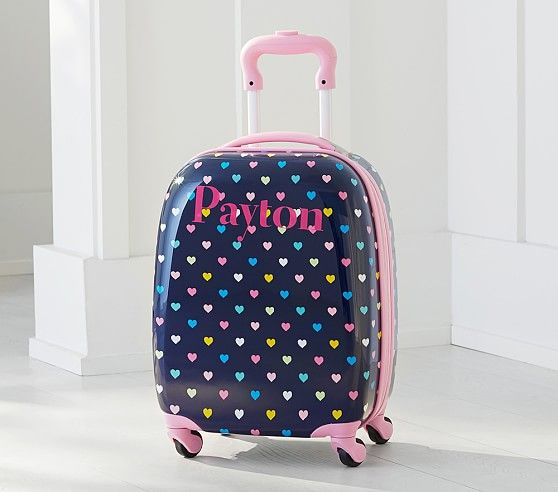 Navy Multicolor Heart Hard Sided Luggage | Pottery Barn Kids // how perfect for our Disney trip?!
