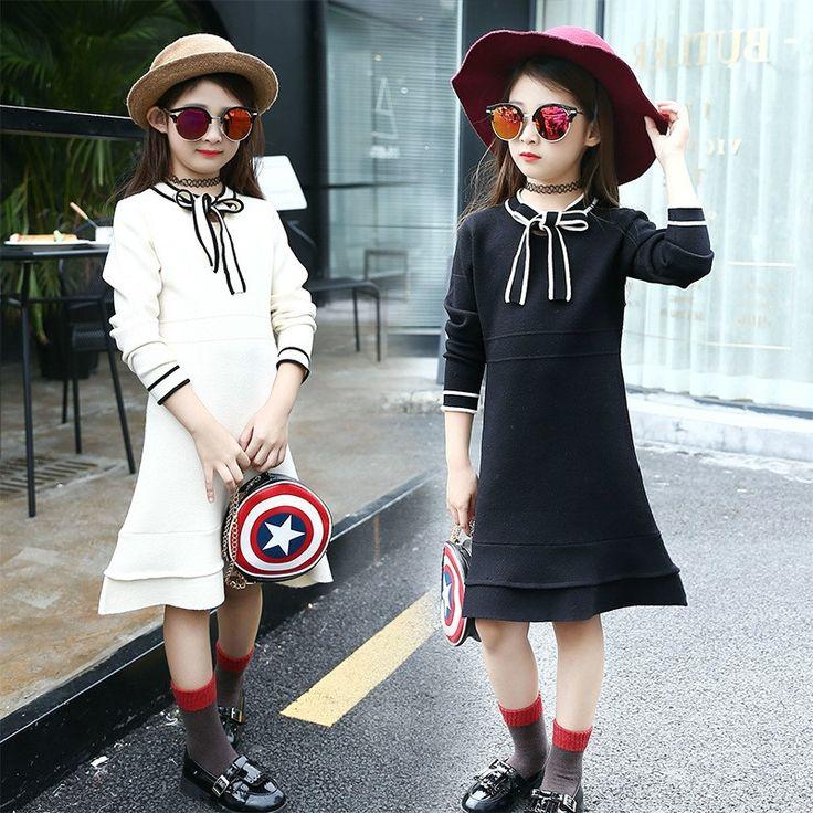 29.80$  Buy here - https://alitems.com/g/1e8d114494b01f4c715516525dc3e8/?i=5&ulp=https%3A%2F%2Fwww.aliexpress.com%2Fitem%2F16-Korean-girls-dress-autumn-new-s-Taobao-children-bow-wool-a-generation-of-damp%2F32779179838.html - New arrival kids girl dress spring and autumn fashion black and white children princess  dress  29.80$