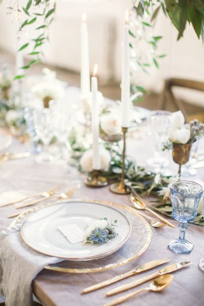 An ethereal table: http://www.stylemepretty.com/little-black-book-blog/2015/01/15/ethereal-city-wedding-inspiration/ | Photography: Lauren Gabrielle - http://laurengabrielle.com/