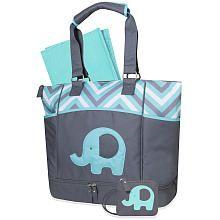 Baby Essential Elephant Diaper Bag  Aqua