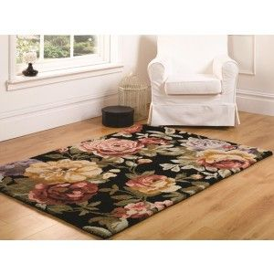 Vintage Floral Rug made from 80% Wool and 20% Cotton giving a soft, thick pipe. http://www.therughouse.co.uk/traditional-rugs/elegant-black-vintage-floral-wool-rug-bronte.html