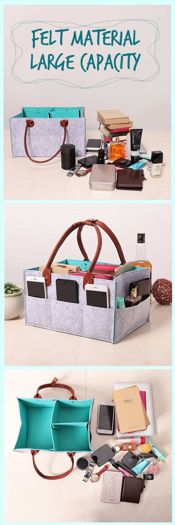 US$13.59-Felt Bag In Bag Hand Cosmetic Bag Jewelry Diaper Ipad Phone Sundries Container #newchic#storage#housing