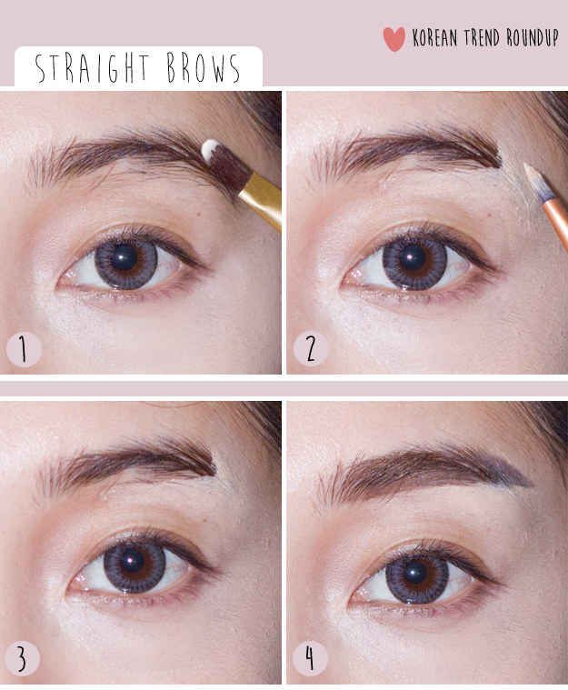 Straight Eyebrows Korean Beauty Trends Though I M Bias Because My Eye Brows Don T Naturally Arch Korean Makeup Tutorials Korean Makeup Eyebrow Makeup