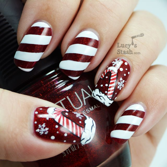 Lucy's Stash: Candy cane holiday manicure and nail art competition entry!